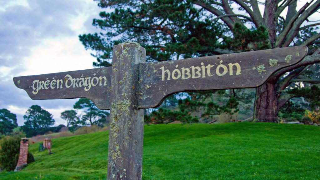 Sign from the Green Dragon Pub in Hobbiton, Matamata