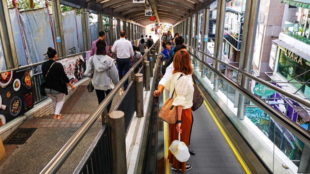 Die Central Mid-Levels Escalator auf Hong Kong Island