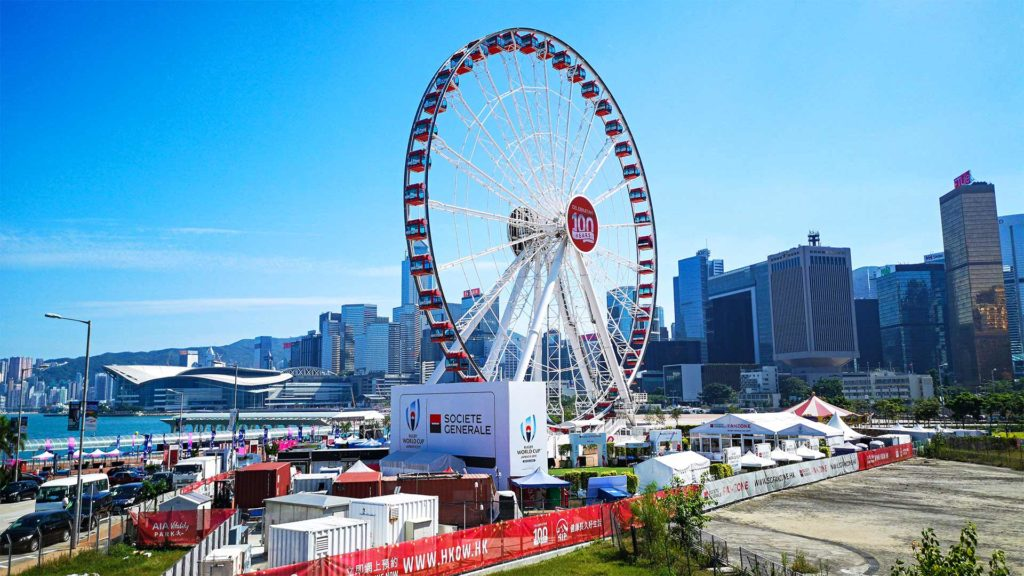 Das Observation Wheel von Hong Kong Island am Central Pier