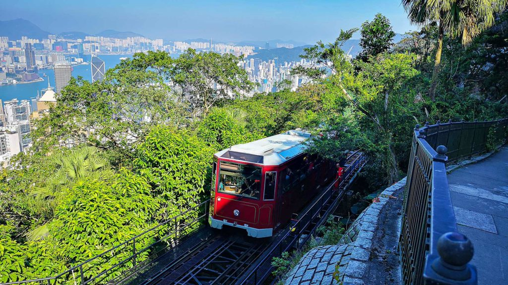 The Peak Tram with the Hong Kong skyline in the background