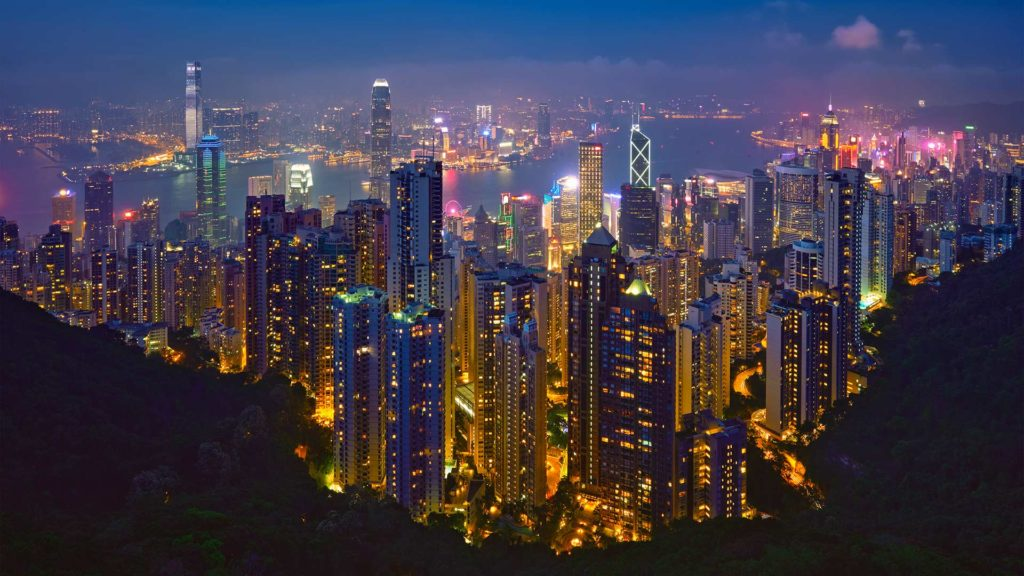 View from Sky Terrace 428 on Victoria Peak over Hong Kong at night