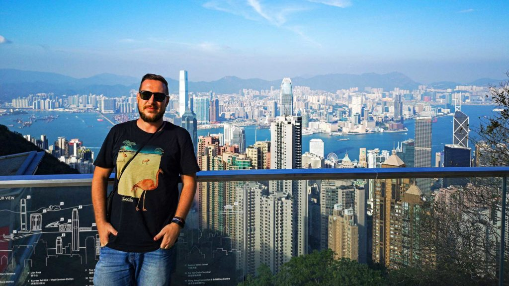 Tobi and the view from The Peak Galleria of the Hong Kong skyline