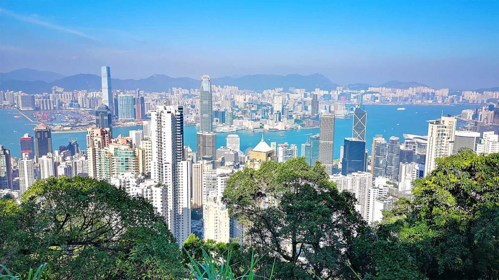 View from Victoria Peak at the Hong Kong Island and Kowloon skyline