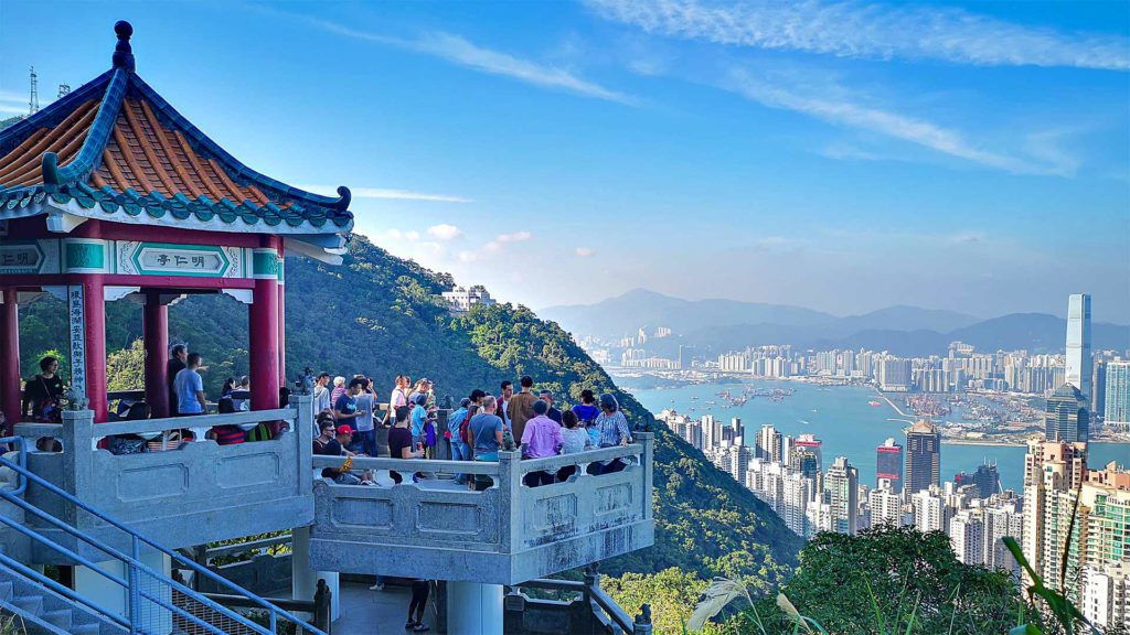 Victoria Peaks Lion's Pavilion with a view of Hong Kong