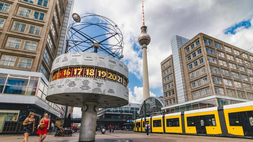 Alexanderplatz with World Time Clock and Television Tower in Berlin
