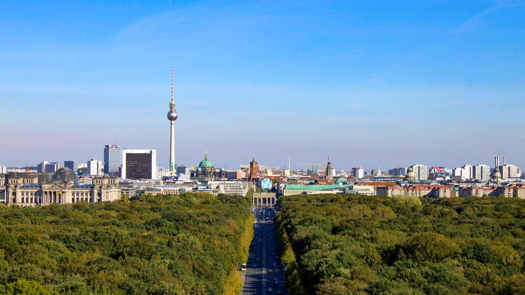 View of the Reichstag, the Berlin Cathedral, the Television Tower, the Brandenburg Gate and the skyline of Berlin from the top of the Victory Column Berlin