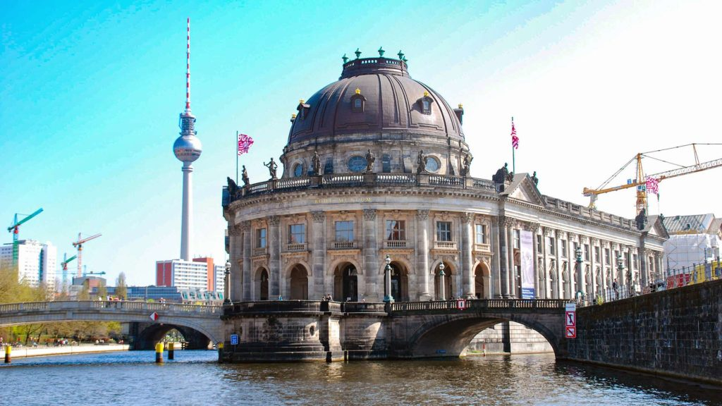 View from the Spree river to the Bode Museum on the Museum Island and the TV tower in the background, Berlin