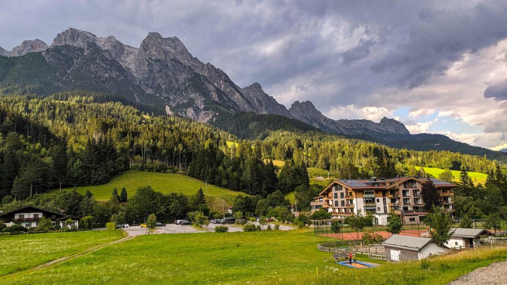 View of the Leogang Mountains in Austria