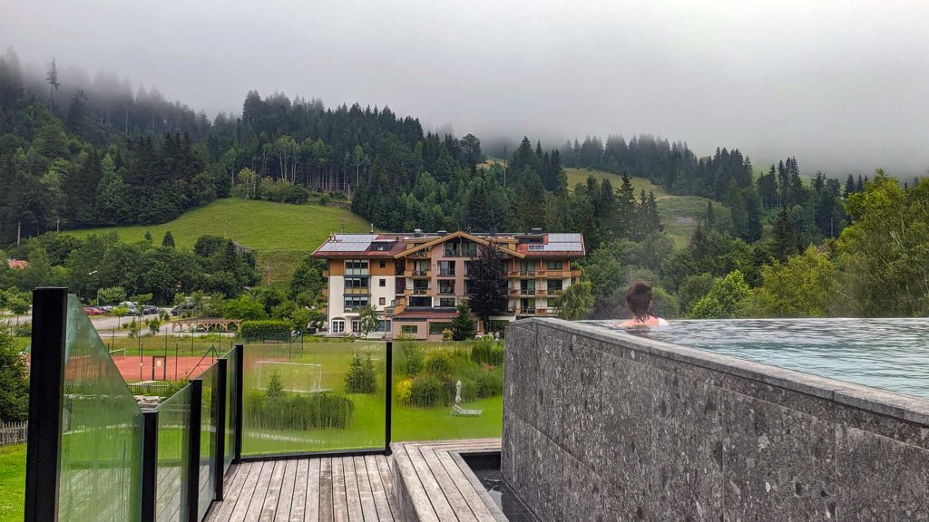 Infinity pool of the nature hotel Forsthofgut in Leogang, Austria
