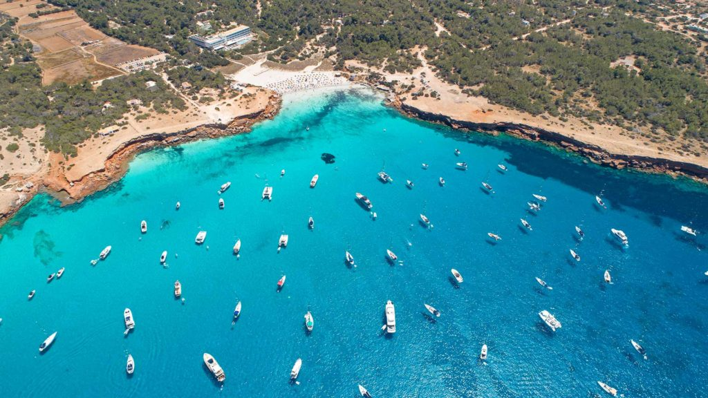 Drone view of the beach of Cala Saona on Formentera, Spain