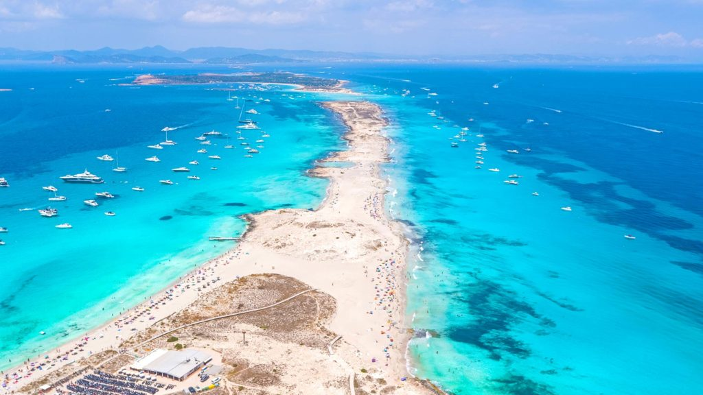 Drone view of the island Formentera of the Balearic Islands in Spain