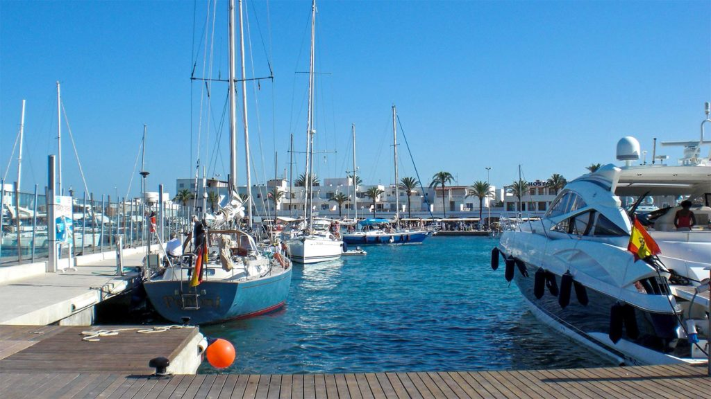 The harbor of Formentera in Spain