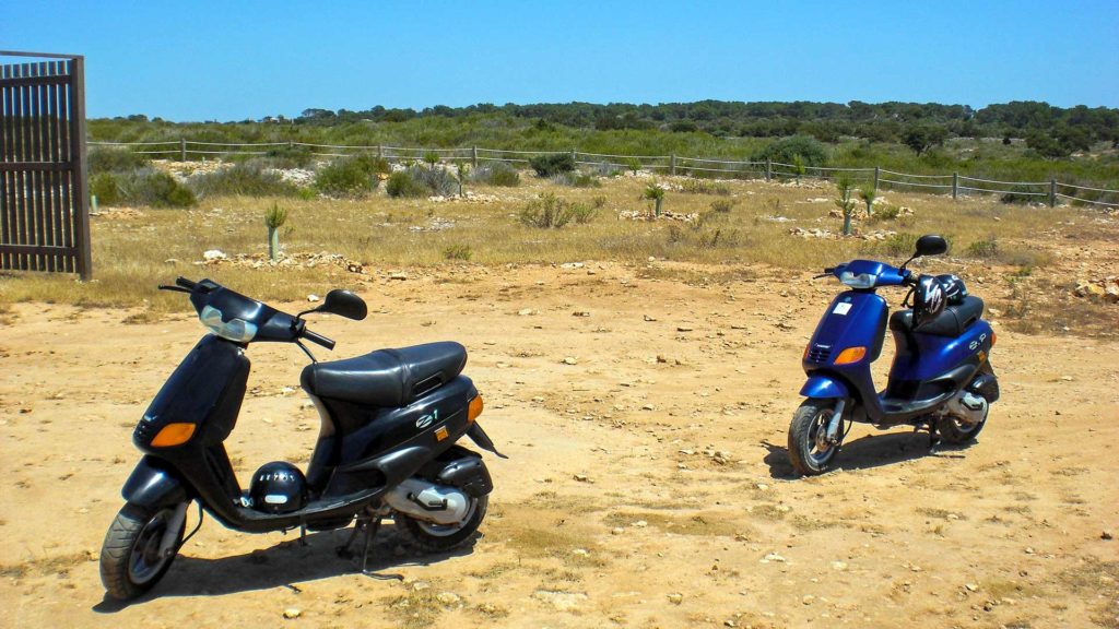 Scooters on Formentera, Balearic Islands, Spain