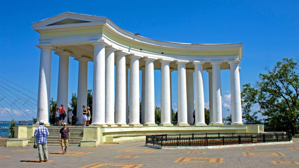 The colonnades of the Vorontsov Palace in Odessa, Ukraine