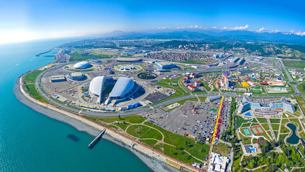 Top view of Sochi Olympic Park in Russia