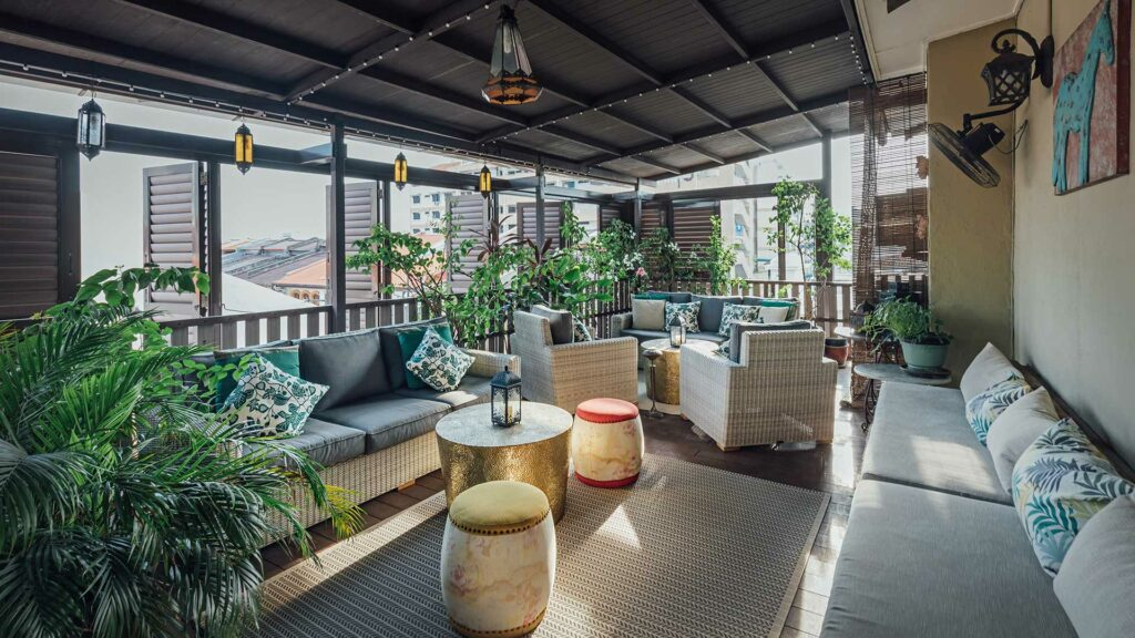 Die Dachterrasse des Campbell House in Penang